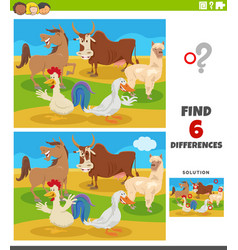 differences educational game with comic farm vector image