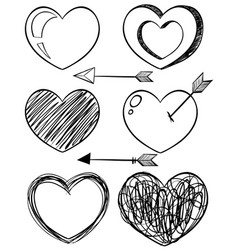 doodle art for different shapes of hearts vector image