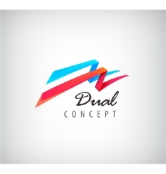 Dual concept logo 2 3d flying ribbons vector