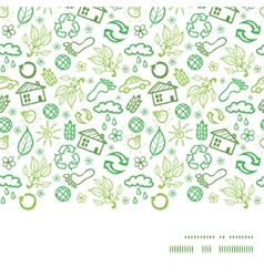 Ecology symbols horizontal frame seamless pattern vector