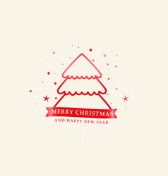elegant christmas line tree with stars background vector image
