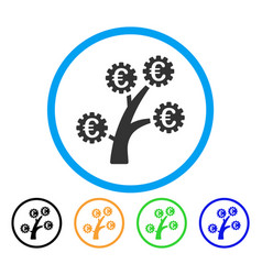 euro technology tree rounded icon vector image