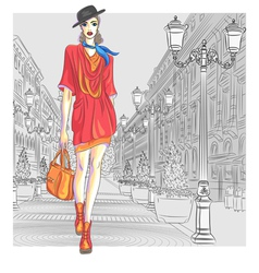 fashion girl in hat with bag vector image