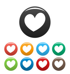 Fiery heart icons set color vector