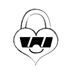 Figure happy heart padlock kawaii with sunglasses vector