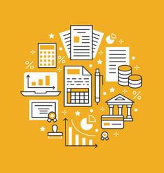 Financial accounting circle poster flat line icons vector