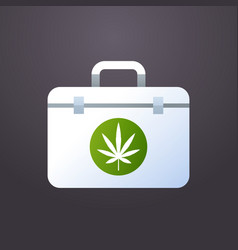 first aid kit marijuana cannabis leaf icon medical vector image