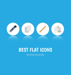 flat icon stationery set of knife sheets vector image