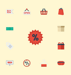 Flat icons sign buy now present and other vector