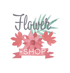 flower shop logo label in vintage style for vector image