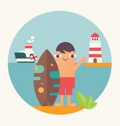 funny cartoon surfer vector image