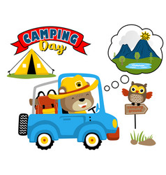 funny scout cartoon driving car go to camping vector image