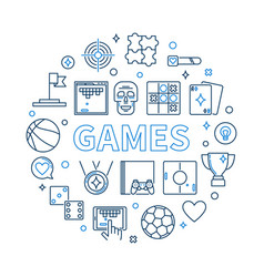 games round in outline style vector image