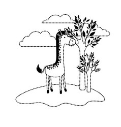 giraffe cartoon in outdoor scene with trees and vector image