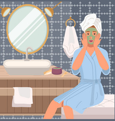 Girl doing morning routine in bathroom woman vector