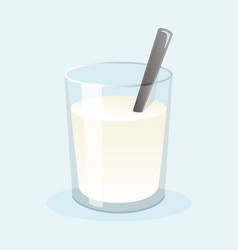 glass fresh milk with sugar and spoon vector image