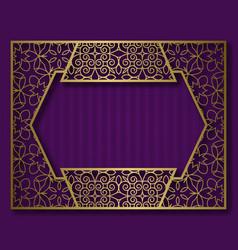 Golden frame in vintage style sticker background vector