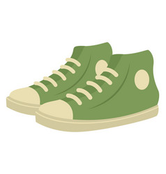 Green man sneakers on white background vector