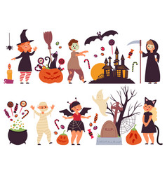 Halloween party elements scary holiday vector