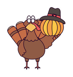 Happy thanksgiving day turkey and pumpkin with vector