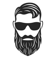 head hipster logo vector image
