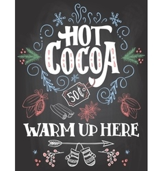 Hot cocoa sign on chalkboard background vector image
