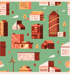houses seamless pattern urban buildings small vector image