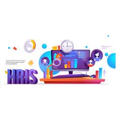 Hris human resources information system banner vector