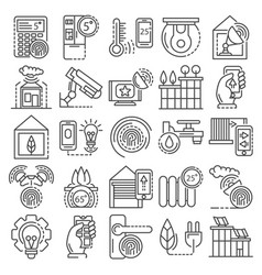 Intelligent building system icon set outline vector