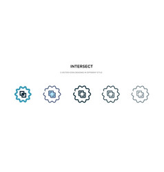 Intersect icon in different style two colored vector