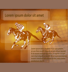 jockeys on racing horses over abstract background vector image