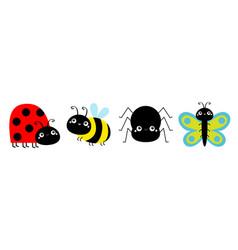 ladybug ladybird bee bumblebee butterfly spider vector image