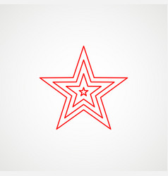 Linear icon communism red multilayer star vector