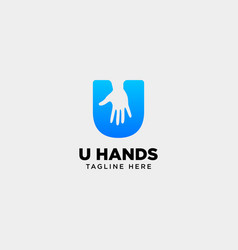 Minimal u letter initial hand logo template icon vector