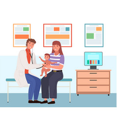 Mom holds son during consultation pediatrician vector