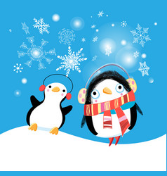 new year bright card with funny penguins vector image