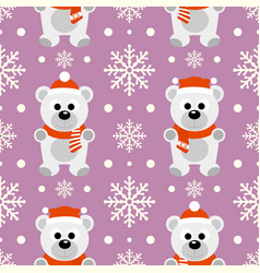 New year seamless background with funny polar bear vector