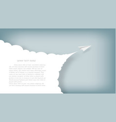paper airplanes flying on blue skypaper art style vector image