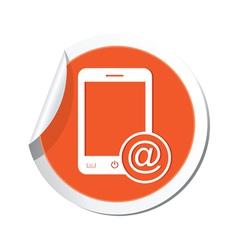Phone email icon orange sticker vector