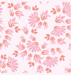 Pink flowers seamless repeat floral pattern vector