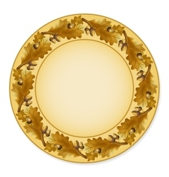 Plate with oak leaves vector image