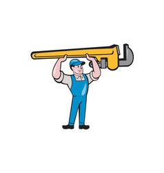 Plumber Lifting Monkey Wrench Isolated Cartoon vector