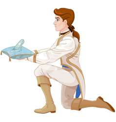 Prince presents a glass slipper vector