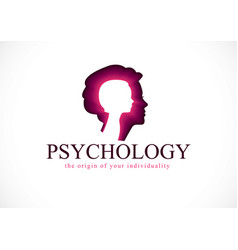 Psychology logo created with woman head profile vector