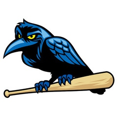 Raven mascot and the baseball bat vector