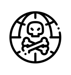 Raw head and bloody bones thin line icon vector