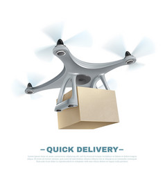 realistic delivery drone vector image