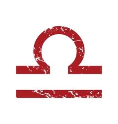 Red grunge Libra logo vector image