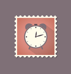 retro style alarm clock flat stamp with shadow vector image