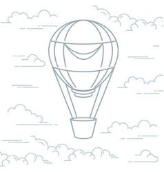 romantic hot air balloon in clouds - airship vector image